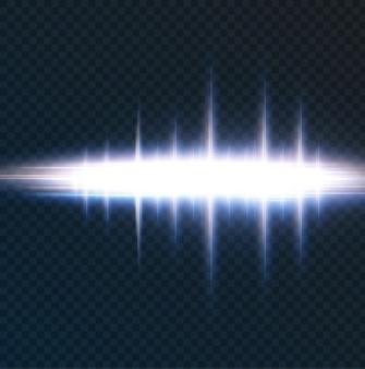 Pacote com destaques horizontais azuis feixes de néon laser feixes horizontais de luz azul