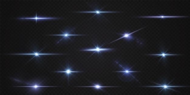Pacote com destaques horizontais azuis. feixes de néon laser horizontais feixes de luz azul estrela azul