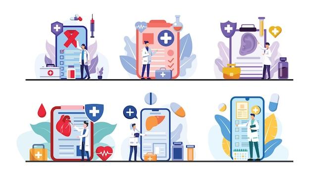Pacote com médicos e médicos trabalhando ou pesquisando on-line no personagem dos desenhos animados, ilustração plana, conceito médico