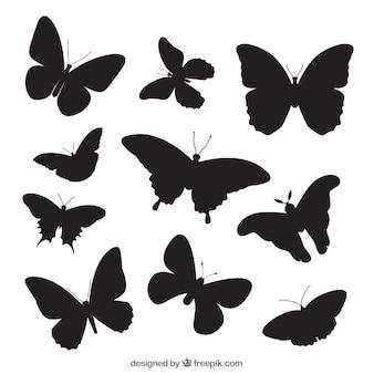 Pacote com variedade de silhuetas da borboleta