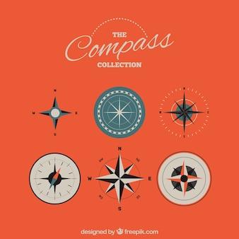 Pacote compass em estilo plano