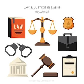 Pacote completo de elementos de lei e justiça