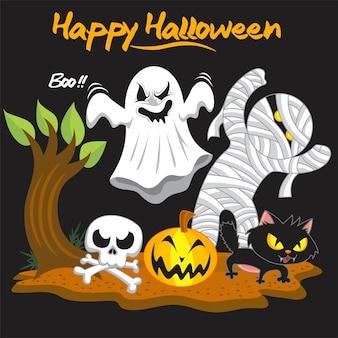 Pacote completo de personagens fofinhos de halloween
