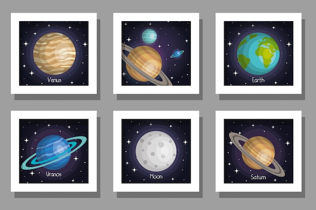 Pacote conjunto de cartões do sistema solar