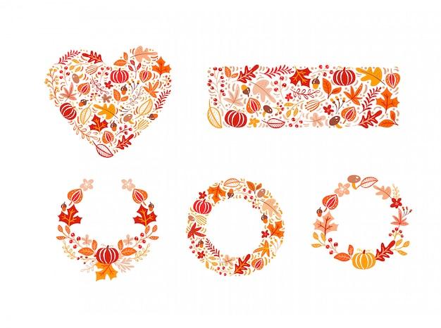 Pacote conjunto de elementos de outono feitos no coração, forma de retângulo e grinalda