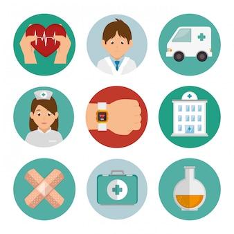 Pacote conjunto de ícones de medicina