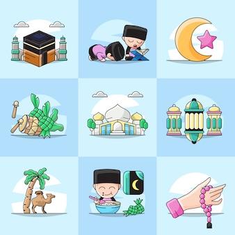Pacote conjunto ilustração do ícone do elemento ramadã