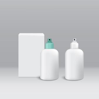 Pacote cosmético cor branca para decorar em fundo cinza