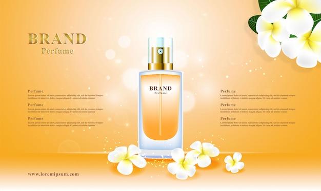 Pacote cosmético luxuoso da flor 3d do perfume