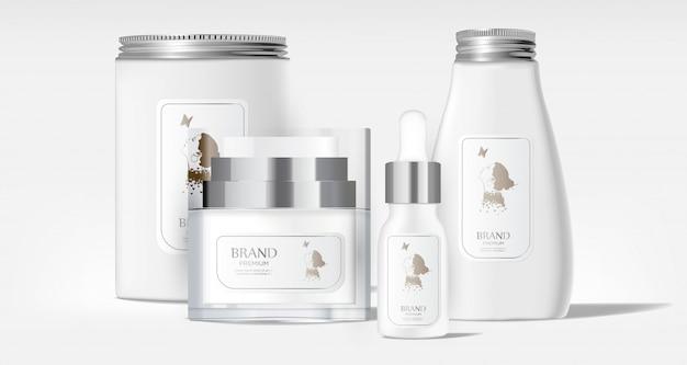 Pacote cosmético realista tubo em branco