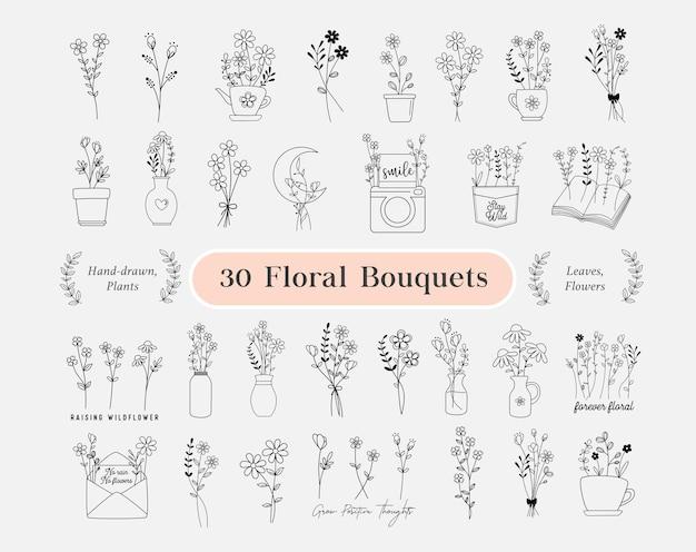 Pacote de 30 buquês de flores. flores desenhado à mão, minimalista, grinalda de flores silvestres, plantas de campo, vaso de flores para logotipo, impressão, cricut, cartão de casamento. ilustração vetorial