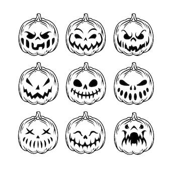 Pacote de abóbora de halloween com modo de silhueta