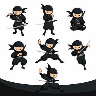 Pacote de ação de samurai ninja preto dos desenhos animados