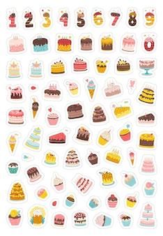 Pacote de adesivos de aniversário coleção de ilustrações do feriado para casamento de festa com bolos e cupcakes