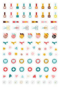 Pacote de adesivos de beleza e saúde feminino ilustrações de adesivos de coleção para planejador maquiagem de manicure