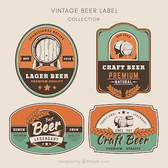 Pacote de adesivos de cerveja em estilo vintage