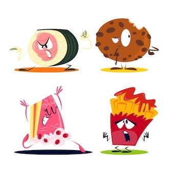 Pacote de adesivos de comida de desenho retrô
