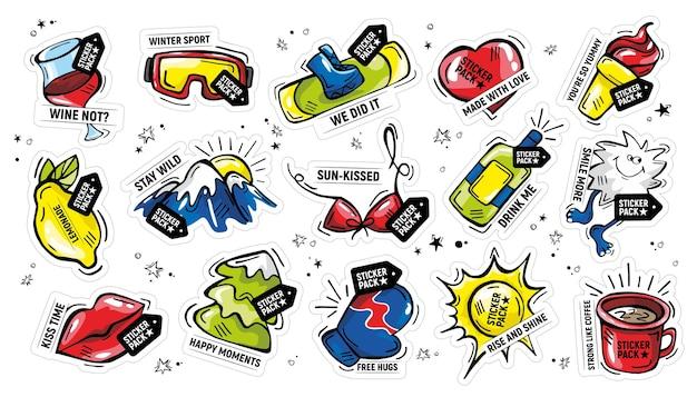 Pacote de adesivos de doodle desenhado à mão com frases