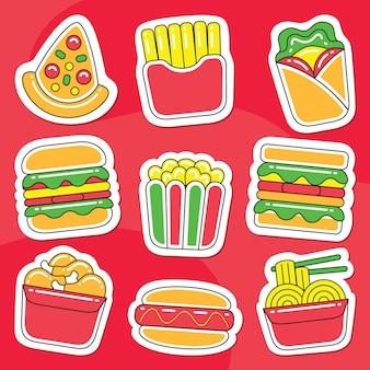 Pacote de adesivos de fast food em estilo de design desenhado à mão