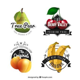 Pacote de adesivos de frutas realistas
