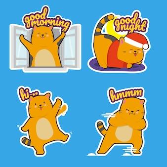 Pacote de adesivos de gato gordinho fofos