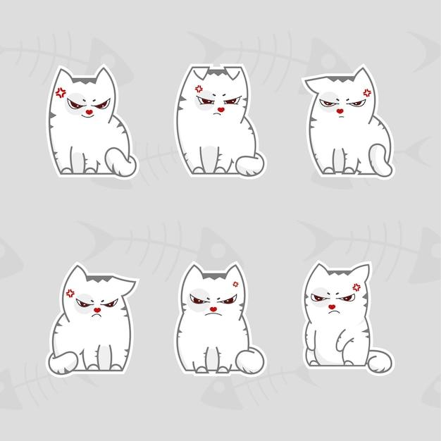 Pacote de adesivos de ilustração vetorial de gatos
