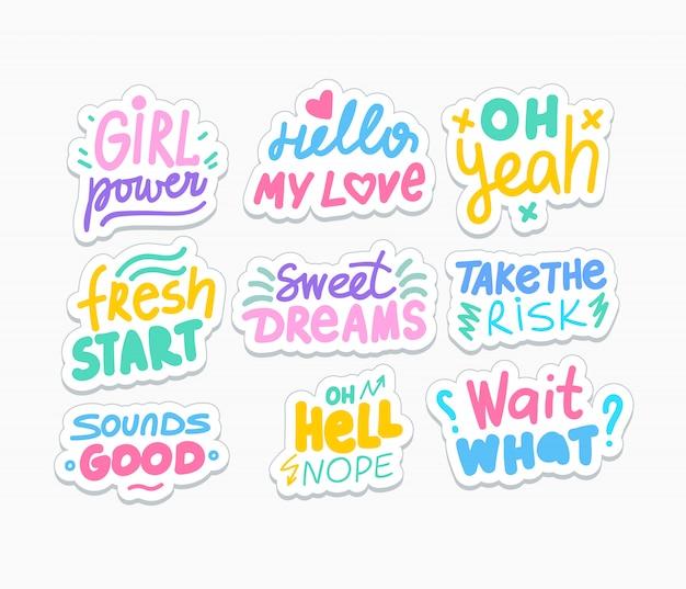 Pacote de adesivos de mídia social positivo. provérbios motivacionais e românticos