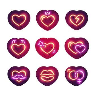 Pacote de adesivos de néon brilhante valentine corações