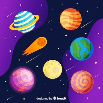 Pacote de adesivos de planetas mão desenhada