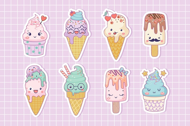 Pacote de adesivos de sorvete engraçado personagens de desenhos animados bonitos para o verão