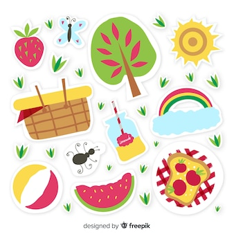 Pacote de adesivos de verão desenhada de mão