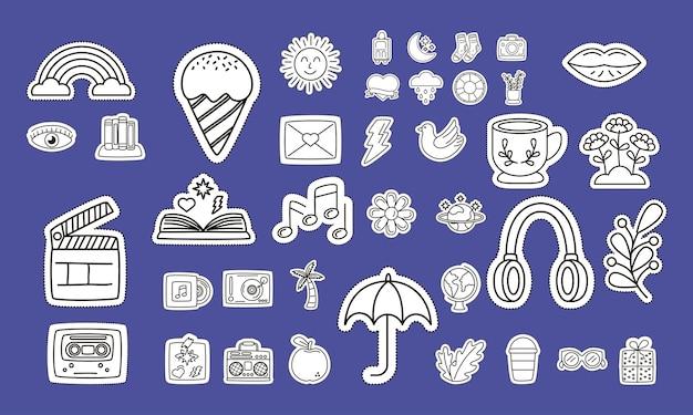 Pacote de adesivos defina ícones em fundo azul.