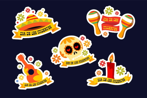Pacote de adesivos dia de los muertos