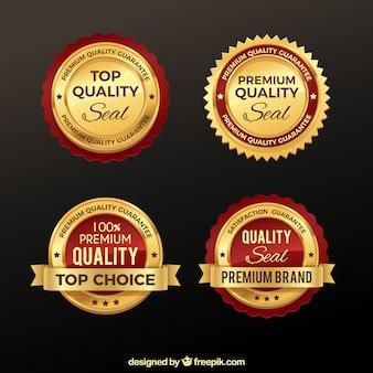 Pacote de adesivos dourados premium
