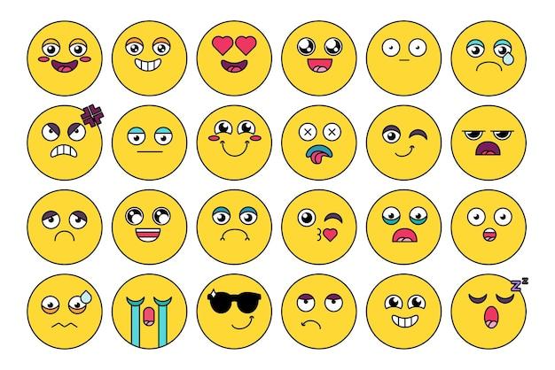 Pacote de adesivos emojis fofos e cômicos. emoticon engraçado, conjunto de cabeça de desenho animado de mídia social. expressão de humor