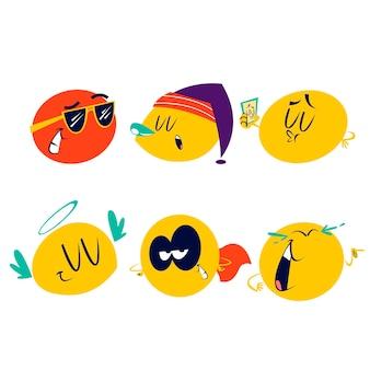 Pacote de adesivos emoticons de desenhos animados retrô