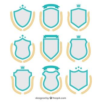 Pacote de adesivos escudo e coroas de louros