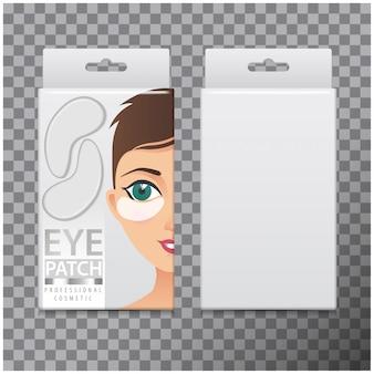 Pacote de adesivos hidratantes para os olhos. modelo de caixa com adesivos de gel para os olhos