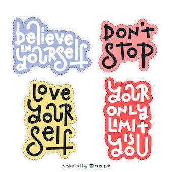 Pacote de adesivos motivacionais letras