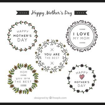 Pacote de adesivos redondos com ornamentos florais para o dia da mãe