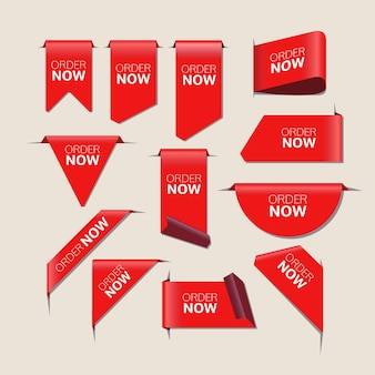 Pacote de adesivos vermelhos agora