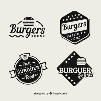 Pacote de adesivos vintage restaurante hamburger
