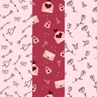 Pacote de adorável padrão de dia dos namorados