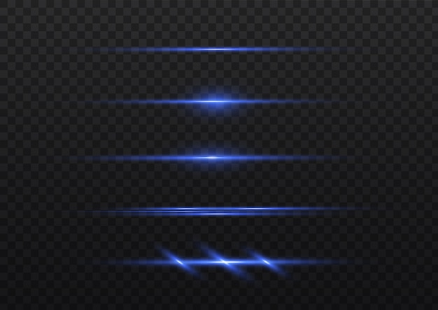 Pacote de alargamentos de lente horizontal azul. raios laser, raios de luz horizontais.