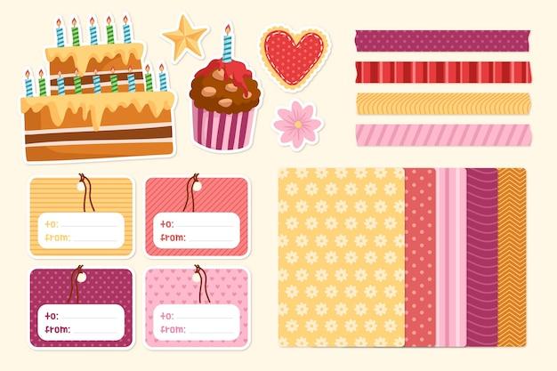 Pacote de álbum de recortes fofo para festa de aniversário