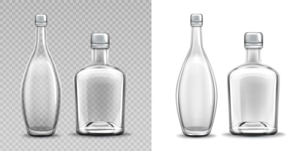 Pacote de álcool cheio realista de garrafa de vidro de vodka