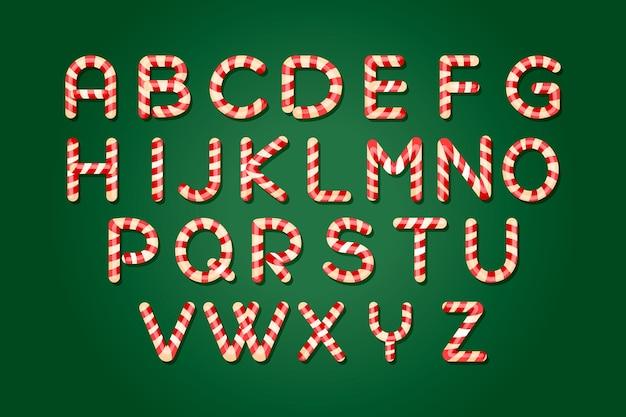 Pacote de alfabeto de natal de bastão de doces
