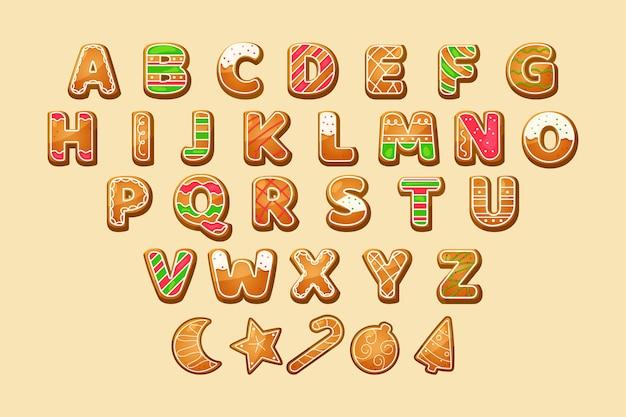 Pacote de alfabeto de natal de gengibre