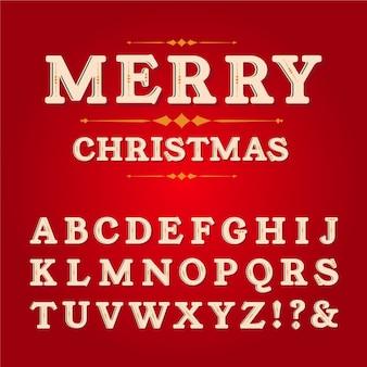 Pacote de alfabeto de natal vintage