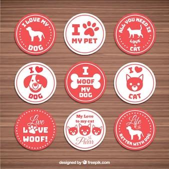 Pacote de amor adesivo com animais